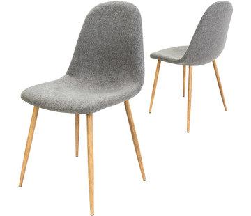 Deuba Deuba Design stoel met stoffen bekleding lichtgrijs 4 stuks