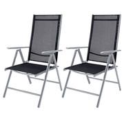 "Casaria Casaria Tuinstoelen Set van 2 aluminium hoge rugleuning ""Bern"" - zilver"