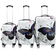 Deuba Hard case koffer Vlinder set van 3 M/L/XL  polycarbonaat 42l, 66l, 98l