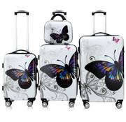 Monzana Monzana Hard case koffer Vlinder set van 4 beautycase/ M/ L/ XL  polycarbonaat