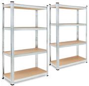 Deuba 2 Stuks Deuba Metalen Opbergrek/Stellingkast met 4 legborden - 700kg draagkracht - (HxBxD) 160x90x40 cm - 175kg per plank