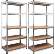 Deuba 2 Stuks Deuba Metalen Opbergrek/Stellingkast met 5 legborden - 875kg draagkracht - (HxBxD) 180x90x40 cm - 175kg per plank