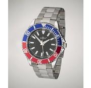 Retox Heren Horloge, met 2 kleurig wijzerplaat en RVS polsband, 3 bar waterdicht