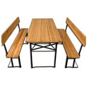 Deuba Deuba Bierbankset 3 stuks met rugleuning & extra brede tafel 70cm
