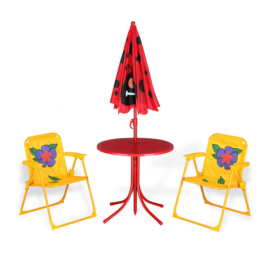 Deuba Kinder tuinset kever- 2 stoelen 1 tafel met parasol