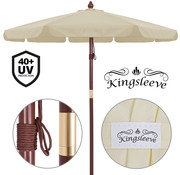 Kingsleeve Kingsleeve Parasol old look hout crème Ø 330cm met UV-bescherming 40+