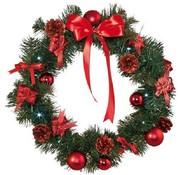 Star LED-kerstkrans, 40 cm diameter, warmwit licht, rood