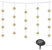 Heitronic Solar LED-verlichte gordijn met sneeuwvlokken, warmwit