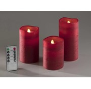 Generic LED Kaarsen met echt kaarsvet, incl timer en flikkerlicht, set van 3