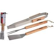 Generic BBQ gereedschap met houten handvat - 3-delig