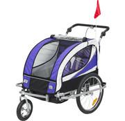 HOMdotCOM HOMdotCOM Kinderaanhanger 2 in 1 fietskar jogger 360° draaibaar paars-zwart
