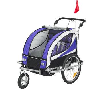 HOMCOM HOMCOM Kinderaanhanger 2 in 1 fietskar jogger 360° draaibaar paars-zwart