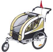 HOMCOM HOMCOM Kinderaanhanger 2 in 1 fietskar jogger geel-zwart