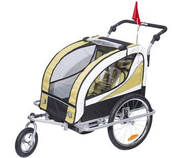 HOMdotCOM HOMdotCOM Kinderaanhanger 2 in 1 fietskar jogger geel-zwart