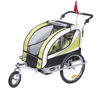 HOMdotCOM HOMdotCOM Kinderaanhanger 2 in 1 fietskar jogger 360° draaibaar groen-zwart