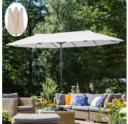 Outsunny Outsunny Dubbele parasol 48 mm met slingerhandvat crème wit 460 x 270 x 240 cm