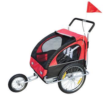 HOMdotCOM HOMdotCOM Fietskar Jogger 2-in-1 - rood/zwart-  Kinderen vanaf 18 jaar