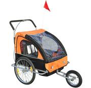 HOMdotCOM HOMdotCOM Fietskar Jogger 2-in-1 zwart/oranje