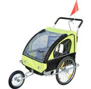 HOMdotCOM HOMdotCOM Fietskar EN hardloop buggy 2-in-1 zwart/groen