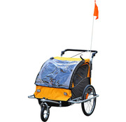 HOMCOM HOMCOM Fietskar Jogger 2-in-1 zwart/oranje