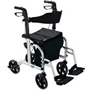 HOMCOM HOMCOM Rollator en rolstoel 2-in-1 alu in hoogte verstelbaar