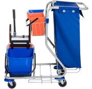 HOMdotCOM HOMdotCOM Schoonmaakwagen met 4 emmers en afvalzak blauw/oranje