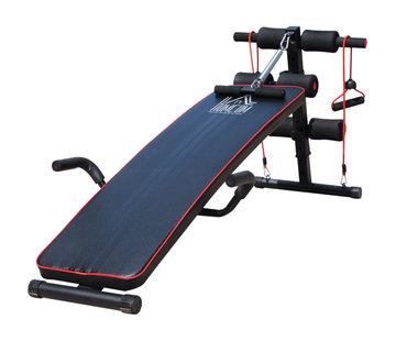 HOMdotCOM HOMdotCOM Sit-up bank buikspieren trainer - verstelbaar - zwart/rood 56,5 x 135 x 50-68cm