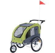 PawHut PawHut Hondentrailer fietskar grijs/groen 130 x 90 x 110cm