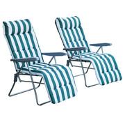 Sunny Sunny Tuinsstoel / ligstoel x 2 opvouwbaar met 5 standen groen / wit
