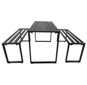 Sunny Sunny Biertafelset rechthoek metaal zwart 110 x 55 x 70 cm