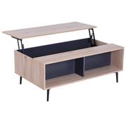 HOMCOM HOMCOM Bijzettafel koffietafel met uitklapbaar tafelblad hout 100 x 58 x 39,3 52,7 cm