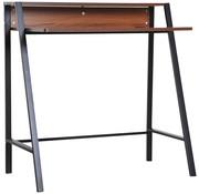 HOMCOM HOMCOM Bureau computertafel zwart metaal/donker hout 84 x 45 x 85 cm