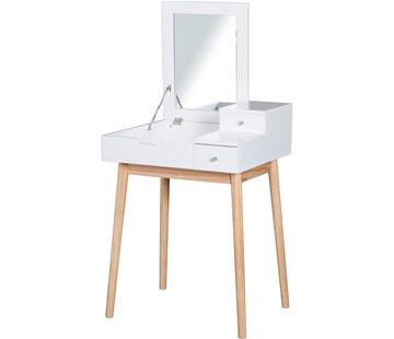 HOMdotCOM HOMdotCOM Kaptafeltje met opklapbare spiegel wit 60 x 50 x 85,5cm