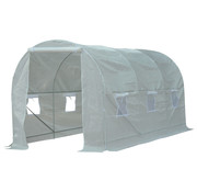 Outsunny Outsunny Tuinkas folie wit met 6 vensters 4,5 x 2 x 2m