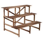 Outsunny Outsunny Plantentrap met 3 planken dennenhout 120 x 80 x 80cm
