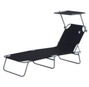 Outsunny Outsunny Ligstoel met zonnescherm inklapbaar zwart 187 x 58 x 27cm
