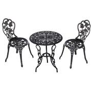 Outsunny Outsunny Bistroset 3-delig tafel en 2 stoelen metaal bronskleur