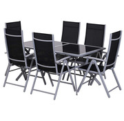 Outsunny Outsunny Tuinset alu inklapbaar incl. tafel met zwarte glasplaat en 6 stoelen