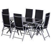 Sunny Sunny Tuinset alu inklapbaar incl. tafel met zwarte glasplaat en 6 stoelen