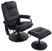 HOMCOM HOMCOM Relaxfauteuil met hocker, massage- en warmtefunctie zwart