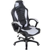 HOMCOM HOMCOM Bureaustoel ergonomisch gamingstoel met massagefunctie zwart/wit