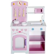 HOMCOM HOMCOM Kinderkeuken spelletjes keuken met accessoires kruk hout roze