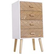 HOMdotCOM HOMdotCOM Nachtkastje Nordic hout/wit 40 x 30 x 75 cm