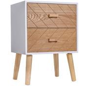 HOMdotCOM HOMdotCOM Nachtkastje Nordic hout/wit 40 x 30 x 55,5 cm