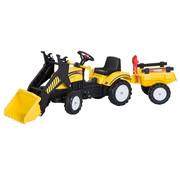 HOMCOM HOMCOM Loopwagen tractor met frontlader en aanhanger zwart/geel