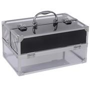 HOMCOM HOMCOM Make-up koffer aluminium/acryl zilver 30 x 19,2 x 16cm