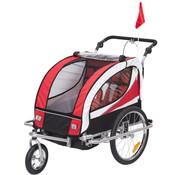 HOMdotCOM HOMdotCOM 2 in 1 Fietskar / Jogger 360 ° Draaibaar voor 2 kinderen Rood-Zwart