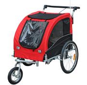 Paws Paws Honden-en katten fietskar/jogger roodzwart 2-in-1