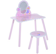 HOMCOM HOMCOM Kinderkaptafel Princess make up tafel roze vanaf 3 jr