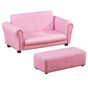 HOMdotCOM HOMdotCOM Kinderbank/sofa met voetenbank roze | 3 - 7 jaar | 83 x 42 x 41 cm